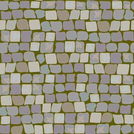 モスと芝の古い敷石。路面のテクスチャのシームレスなパターン。石、石畳の通りの壁
