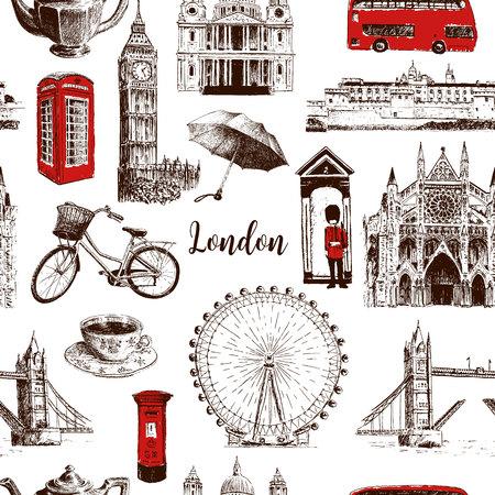 London architectural symbols hand drawn vector seamless pattern sketch. Big Ben, Tower Bridge, red bus, mail box, call box, guardsman