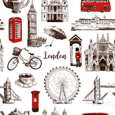 London architectural symbols hand drawn vector seamless pattern sketch. Big Ben, Tower Bridge, red bus, mail box, call box, guardsman