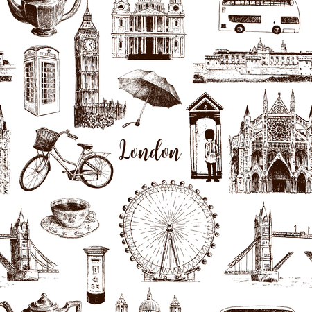 London architectural symbols hand drawn vector seamless pattern sketch. Big Ben, Tower Bridge, red bus, mail box, call box. St. Paul Cathedral