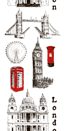London architectural symbols: Big Ben, Tower Bridge, mail box, call box. St. Paul Cathedral. Vertical stripe seamless pattern