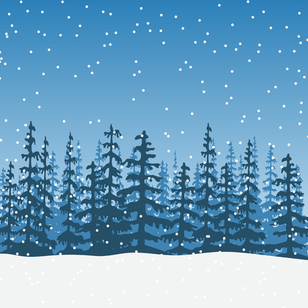 christmas Landscape with silhouette of forest twilight 写真素材