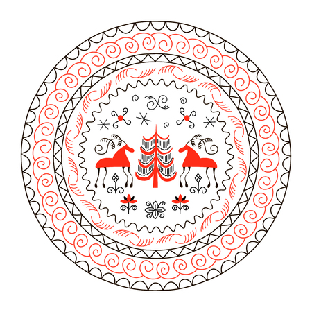 National northen paintings circle frame. Folk handicrafts. Enchanting original ornaments. Illustration