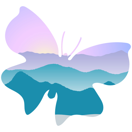 Landscape with mountains, mist and forest at sunrise. Double exposure, panoramic view, butterfly shape, sky background. butterfly shape. Vector illustration. trees, mist, beam, sunrise Illustration