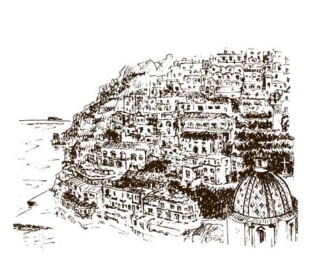 Positano, Amalfiküste, Kampanien, Sorrent, Italien. Schöne Hand gezeichnete Vektorskizzenillustration
