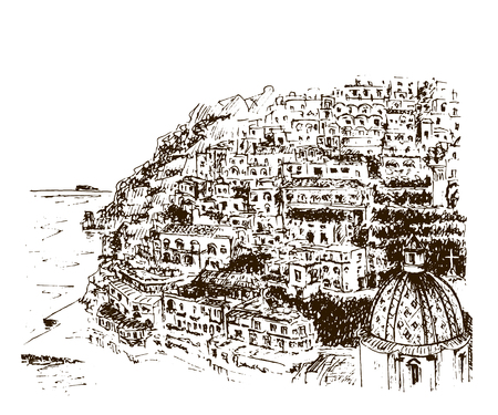 Positano, Amalfi Coast, Campania, Sorrento, Italy. Beautiful hand drawn vector sketch illustration Stock Illustratie