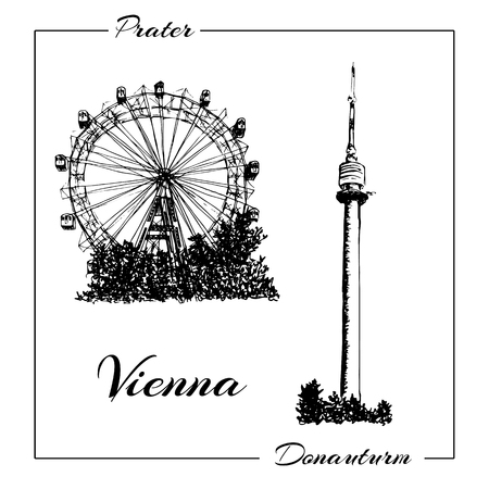 Vienna symbol. Vector hand drawn ink pen sketch illustration. Donauturm, Prater.
