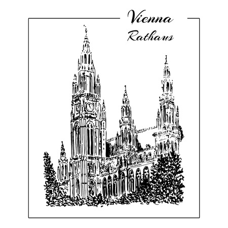 Vienna symbol. Vector hand drawn ink pen sketch illustration. Rathaus, city hall Illustration