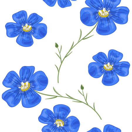 Flax blue flowers with stem Seamless pattern.