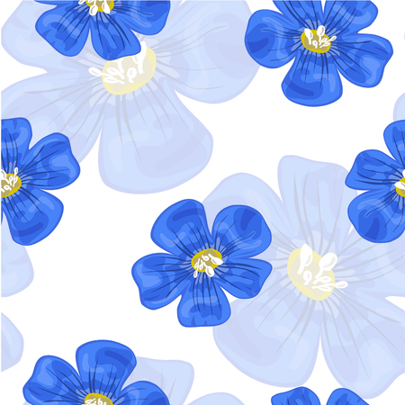 Flax blue flowers. Seamless pattern. Vector illustration.