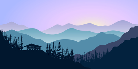 Silhouettes of mountains, chalet and forest at sunrise. Vector illustration.