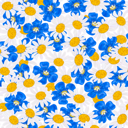 Daisy and blue flowers, forget-me-not, flax, chamomile wildflower heads. Illustration