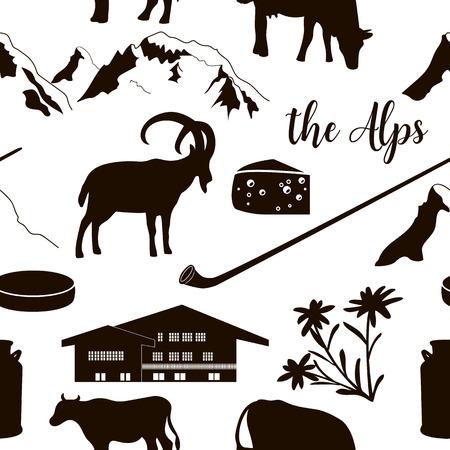 The Alps seamless pattern flat icons. Mountain Matterhorn, Alpine ibex, chalet, edelweiss, alpenhorn.