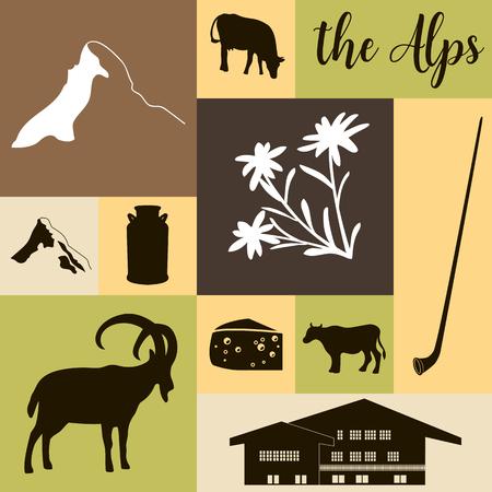 The Alps flat icons. Mountain Matterhorn, Alpine ibex, chalet, edelweiss flowers, alpenhorn, milk, squared
