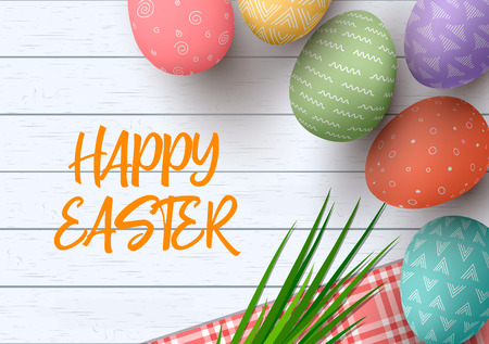 Easter colorful decorated eggs. Happy Easter. Festive white wooden background. Table cloth, herbs wisp, text, vector illustration. Postcard template, decoration, label, tag poster design web Illustration