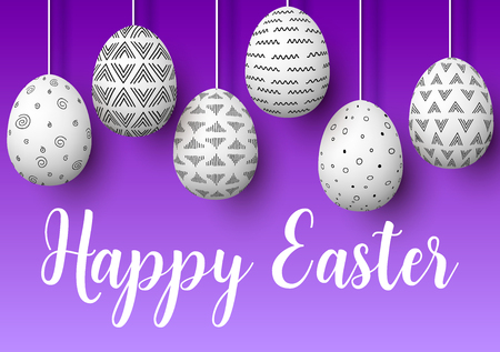 Happy Easter. Set of white pending easter eggs with different simple ornaments on purple background. Illustration