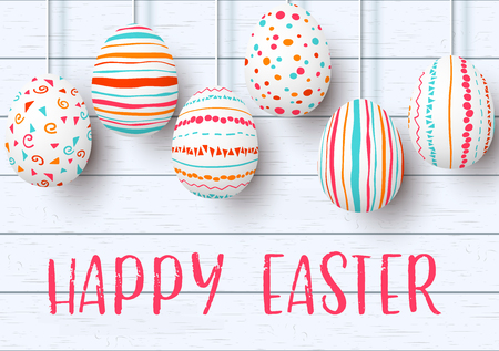 Happy Easter. pending easter eggs on white wooden background. Easter colorful hanging eggs with simple pink, orange, red, blue stripes, patterns, ornaments. vector illustration. Postcard template