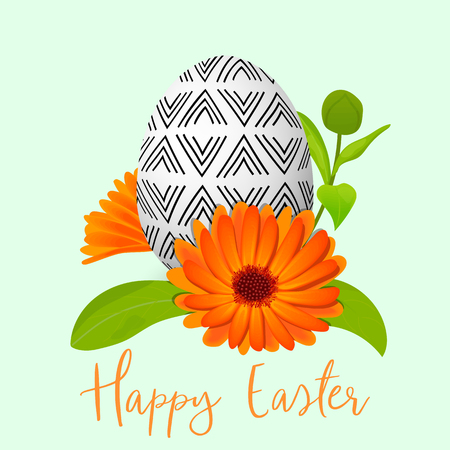 Easter decorated egg and calendula wreath. Ornamented festive egg with simple abstract ornaments.  Vector Illustration.