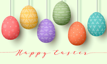 Pending Easter multicolored eggs isolated. Happy Easter, hanging eggs with different simple ornaments vector illustration. Postcard template, decoration, label, tag, poster. Illustration