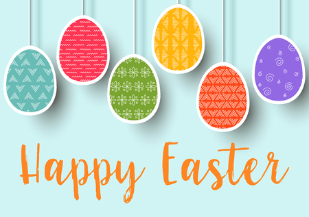 Pending easter multicolored flat eggs isolated. Happy Easter. Easter hanging eggs with different simple ornaments. vector illustration. Postcard template, decoration, label, tag, poster,