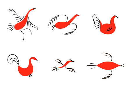 Set of six red birds. National northen paintings. Folk handicrafts. Enchanting original Simplicity. flat duck, goose, hen, fowl, cock, swan, lark, starling. For prints poster wallpaper, decoration. Illustration