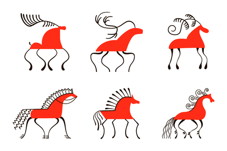 Set of six red horses. For prints poster wallpaper, decoration