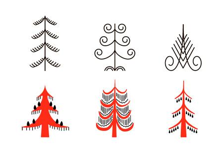 Ensemble de six arbres rouges. Pour les impressions papier peint affiche, décoration
