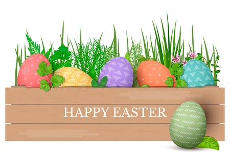 Happy Easter. Easter colorful eggs in row in brown wooden crate with cooking herbs. box with simple ornaments. floral decoration. vector illustration. Postcard template, advertising, gifts, design,