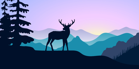 Mountains landscape with silhouettes vector illustration