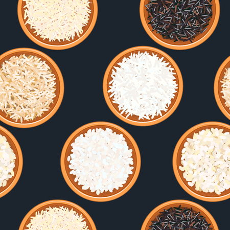Different types of rice in bowls on dark wooden background. seamless pattern. Basmati, wild, long brown, arborio, sushi. 向量圖像