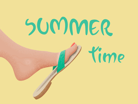 Summer time vector banner design with tanned kicking bare foot in sandal on the beach. Vector illustration Illustration