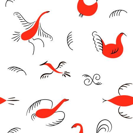 Six red birds seamless pattern. National scandinavian paintings. Folk handicrafts. Enchanting original Simplicity. Illustration