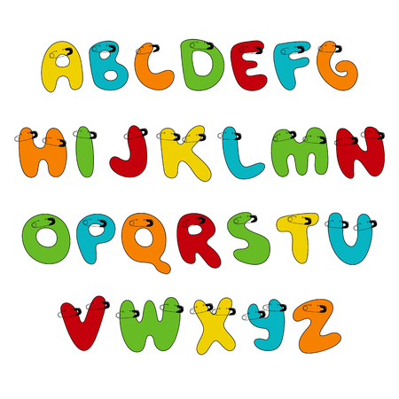 Pin Stitched Hand written display colored font, Kid style. ABC. patched, sewed, breastpin. Decorative funny Vector alphabet