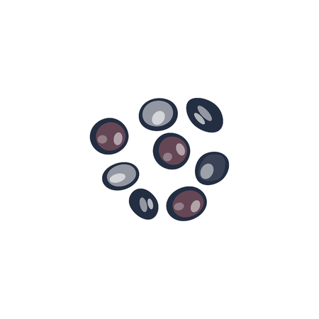 colored stones, precious gems, glass balls, black . Vector illustration