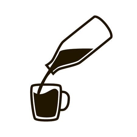 Natural milk symbol or logo. Milk pouring from a bottle in cup. Concept idea for buisness. Vector illustration.