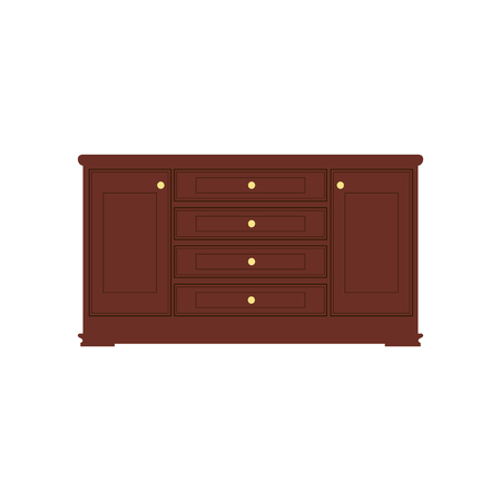 Wooden light brown chest of drawers. Made of natural materials. Vintage retro style furniture. Clipping paths included.