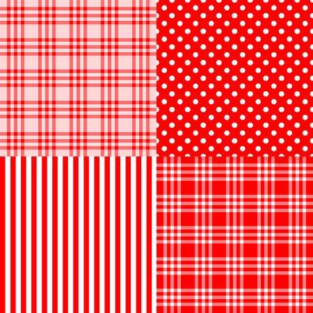Vector set of 4 red patterns (striped, plaid, spotted) . Good for Baby Shower, Birthday, Mother's Day, Father's Day, Christmas, New year Scrapbook, Greeting Cards, Gift Wrap, surface textures. 向量圖像