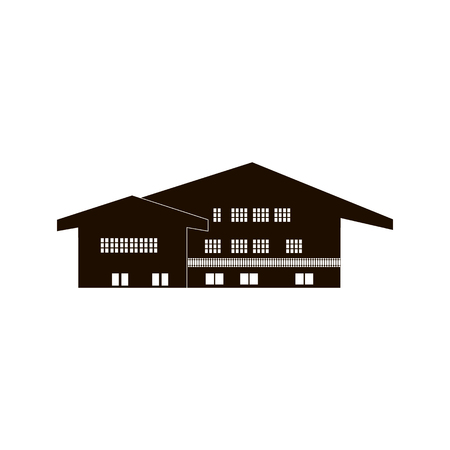 chalet, wooden house, home, country building. Swiss cottage vector icon