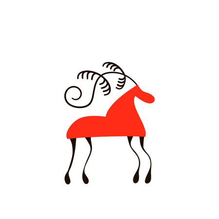 red horse. National northen paintings. Folk handicrafts. Enchanting original ornaments. Simplicity Stok Fotoğraf - 111223275