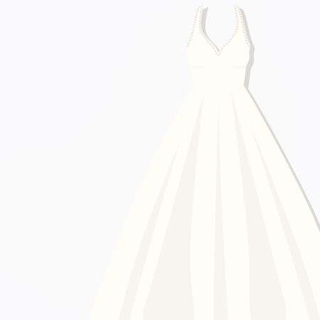 beautiful white briding dress Concept idea for logo, tag, banner, advertising, prints, wrapping, decoration, package