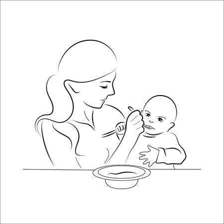 Mutter, die ihr Baby mit Löffel füttert. Vintage-Stil-Skizze-Tintenstift. Vektor-Illustration. Vektorgrafik