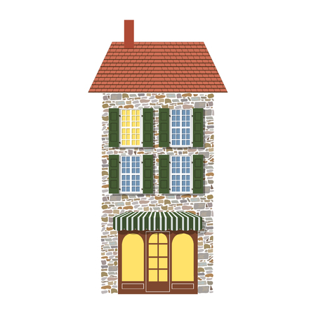 Realistic old fashioned looking dollhouse isolated on white Vector illustration. toy vintage