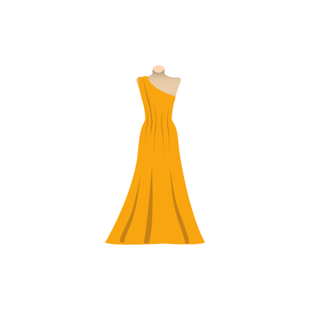 Yellow Sundress, Evening dress, combination or nightie, the silhouette. Menu item in the web design Vector illustration. Illustration