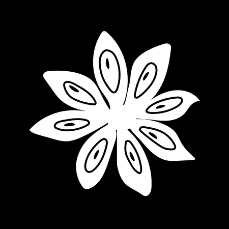 Star anise, isolated icon. white silhouette. Vector illustration.