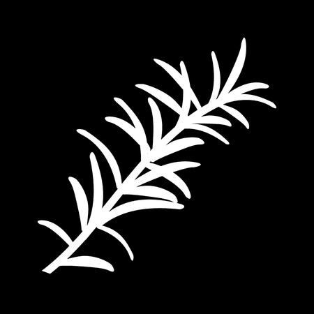 Rosemary or Rosmarinus officinalis. Leaves and flowers. isolated icon. white silhouette. Vector