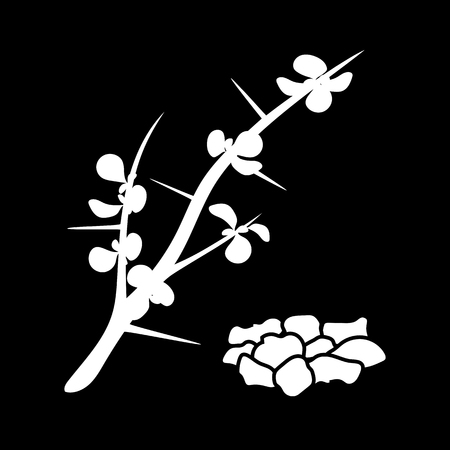 The delicate flower of myrrh isolated icon. white silhouette. Vector illustration Illusztráció