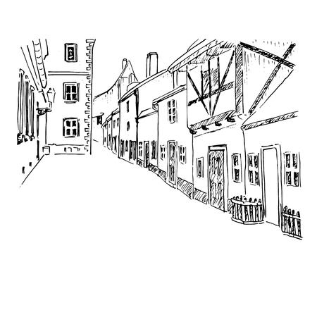old european town street. Prague. Vector hand drawn sketch. Zlata ulicka - Golden street. ink pen sketch style