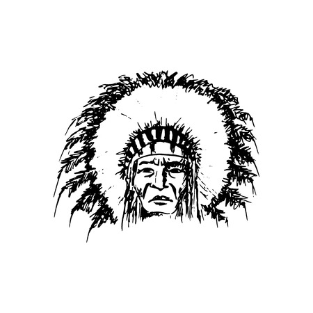 Stylized cartoon sketch North American Indian chief redskin man , face, isolated on white Vettoriali