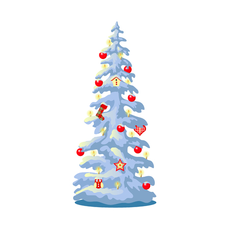 decoratred illuminated snowy Christmas tree with colorful ornaments, balls, toys, candles. isolated on white. Vector illustration Illustration
