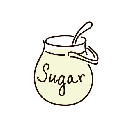 sugar bowl with spoon on white background. simple sketch pen style. flat iconic symbol